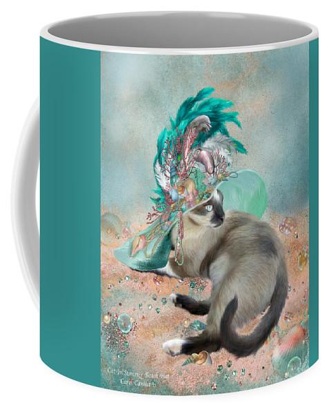Cat Coffee Mug featuring the mixed media Cat In Summer Beach Hat by Carol Cavalaris