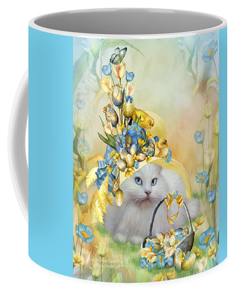 Cat Coffee Mug featuring the mixed media Cat In Yellow Easter Hat by Carol Cavalaris