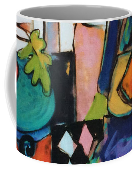 Contemporary Art Coffee Mug featuring the painting Cat Nap by Linda Holt