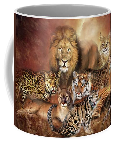 Lion Coffee Mug featuring the mixed media Cat Power by Carol Cavalaris