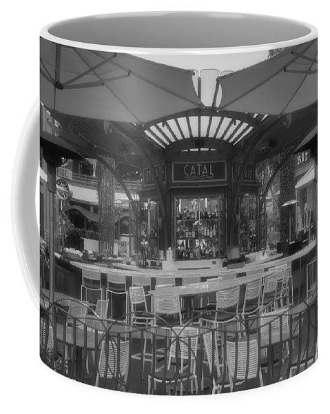 Disney Coffee Mug featuring the photograph Catal Outdoor Cafe Downtown Disneyland Bw by Thomas Woolworth