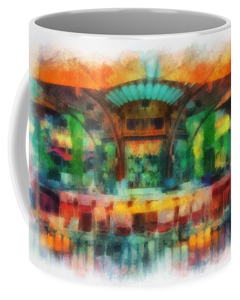 Disney Coffee Mug featuring the photograph Catal Outdoor Cafe Downtown Disneyland Photo Art 01 by Thomas Woolworth