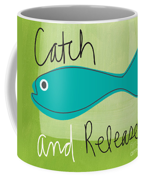 Fishing Coffee Mug featuring the painting Catch And Release by Linda Woods