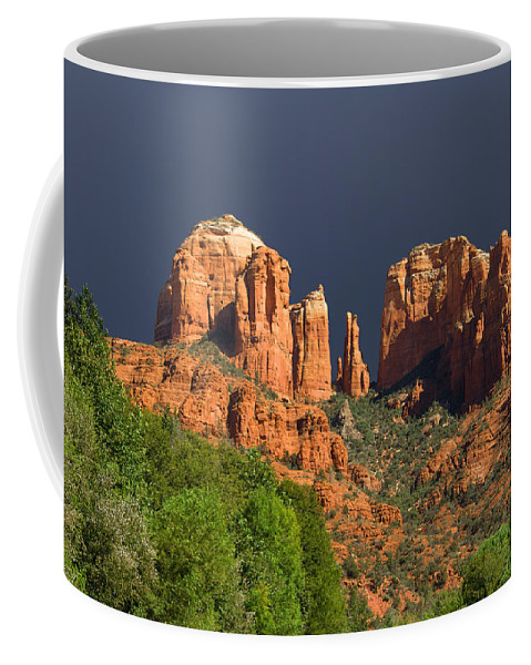 Red Rocks Coffee Mug featuring the photograph Cathedral Rock Before The Storm by Alexey Stiop