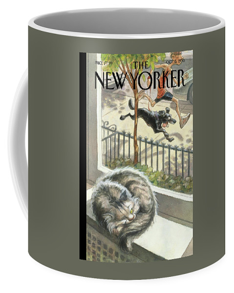 Cat Coffee Mug featuring the painting Catnap by Peter de Seve