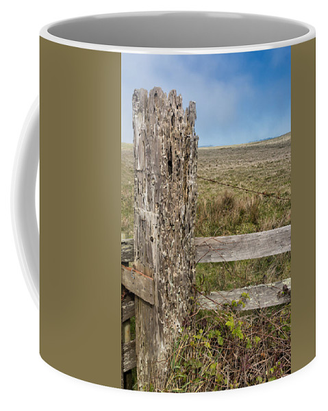 Fence Coffee Mug featuring the photograph Cattle Fence On The Stornetta Ranch by Kathleen Bishop