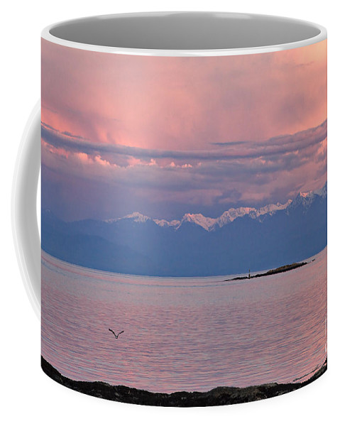 Travel Coffee Mug featuring the photograph Cattle Point At Sunset On Vancouver Island British Columbia by Louise Heusinkveld