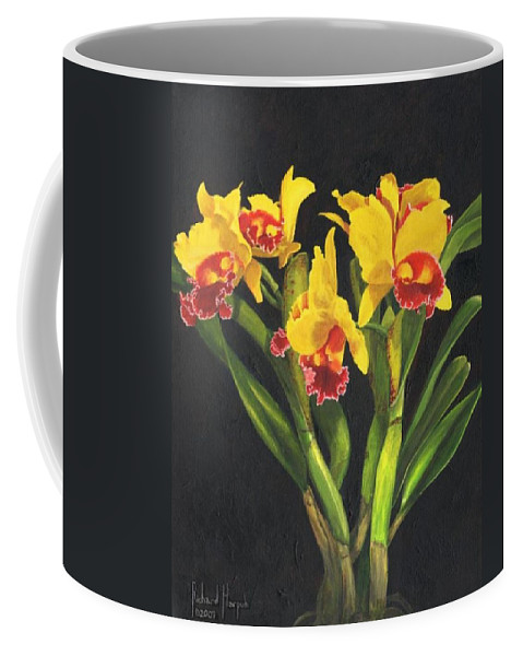 Flower Coffee Mug featuring the painting Cattleya Orchid by Richard Harpum