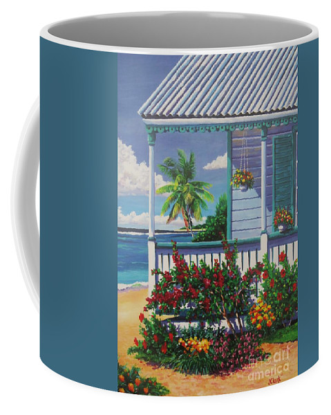 Cayman Coffee Mug featuring the painting Cayman Porch by John Clark