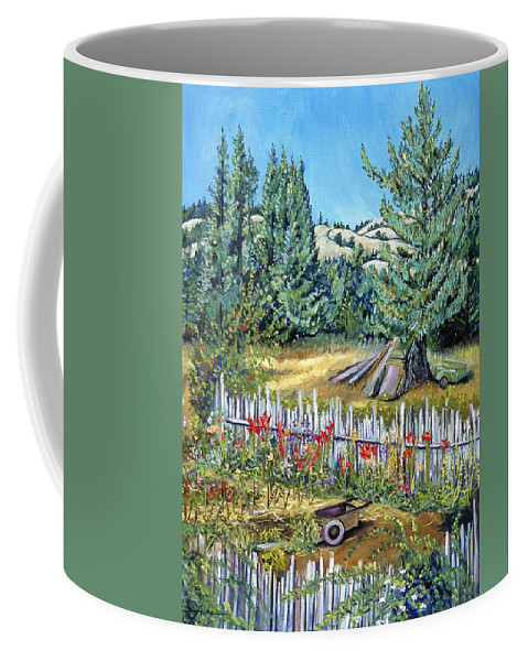 Landscape Painting Coffee Mug featuring the painting Cazadero Farm And Flowers by Asha Carolyn Young