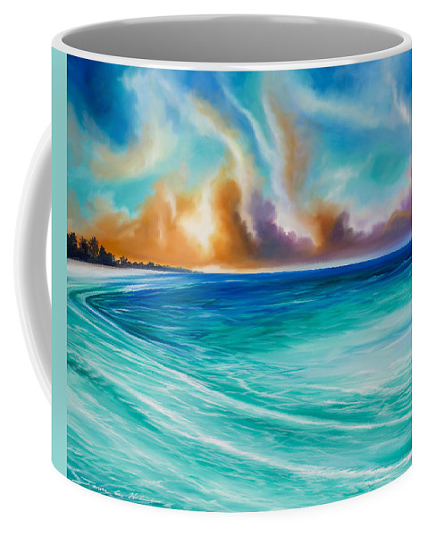 Sunrise Coffee Mug featuring the painting Cazumel by James Christopher Hill