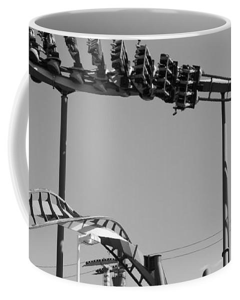 Cedar Point Roller Coaster Black And White Coffee Mug featuring the photograph Cedar Point Roller Coaster Black And White by Dan Sproul