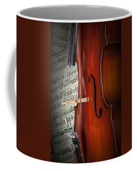 Cello Coffee Mug featuring the photograph Cello Bridge And Beethoven by Randall Nyhof