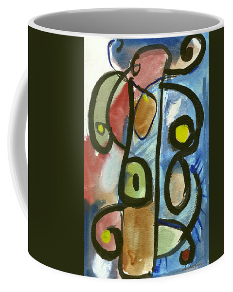 Abstract Art Coffee Mug featuring the painting Cello In Blue by Stephen Lucas
