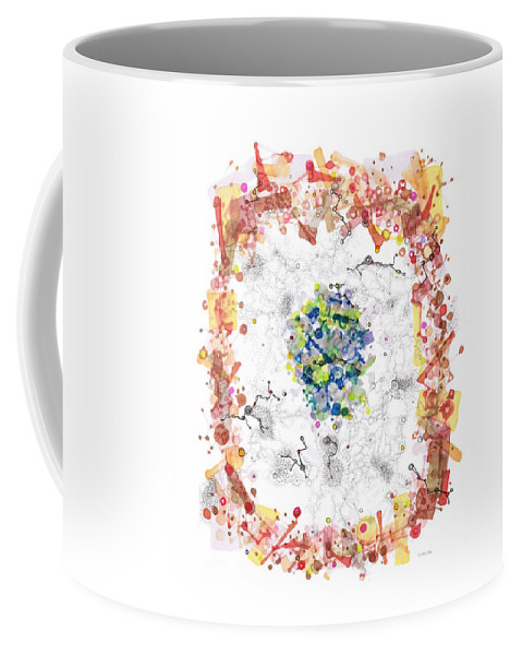 Cell Coffee Mug featuring the drawing Cellular Generation by Regina Valluzzi