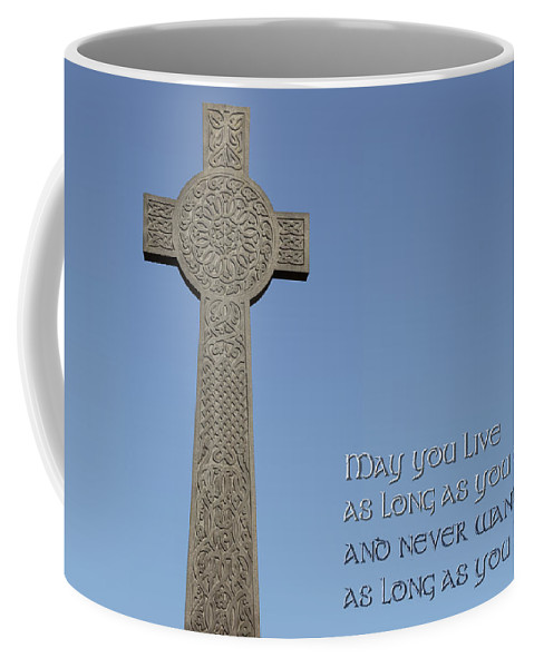 Celtic Cross Coffee Mug featuring the photograph Celtic Blessing 1 by Liz Leyden