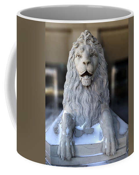 Calgary Coffee Mug featuring the photograph Center Street Lion by David Pantuso