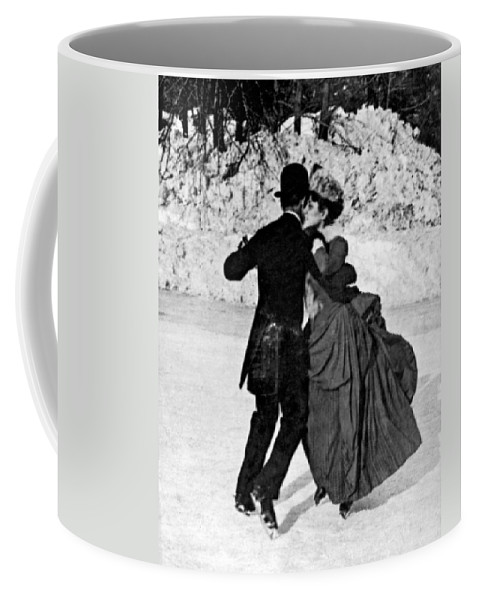 1890 Coffee Mug featuring the photograph Central Park Victorian Skaters by Underwood Archives