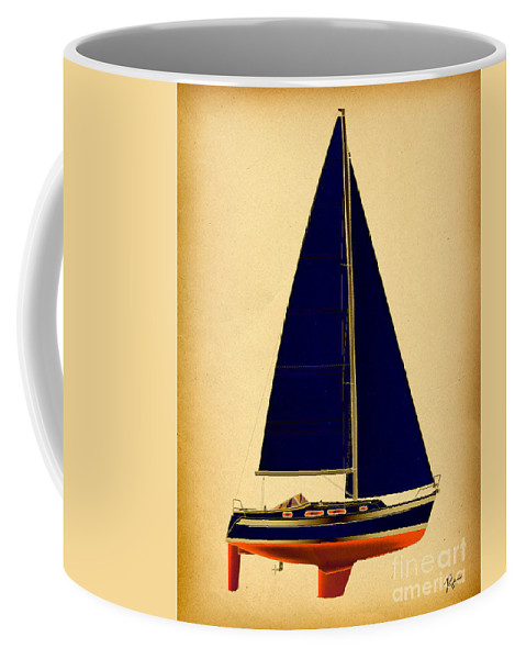 Regina Gallant Coffee Mug featuring the drawing Ceq Black Sails by Regina Marie Gallant