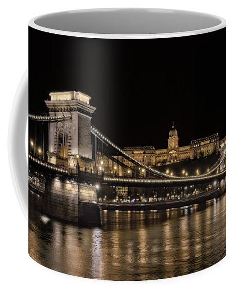 Joan Carroll Coffee Mug featuring the photograph Chain Bridge And Buda Castle Winter Night by Joan Carroll