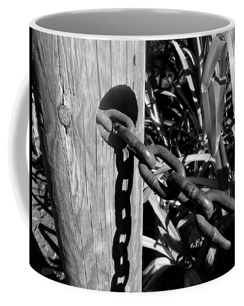 Black And White Coffee Mug featuring the photograph Chain Fence by Denise Mazzocco
