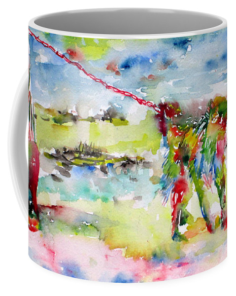 Monkey Coffee Mug featuring the painting Chained Monkey by Fabrizio Cassetta