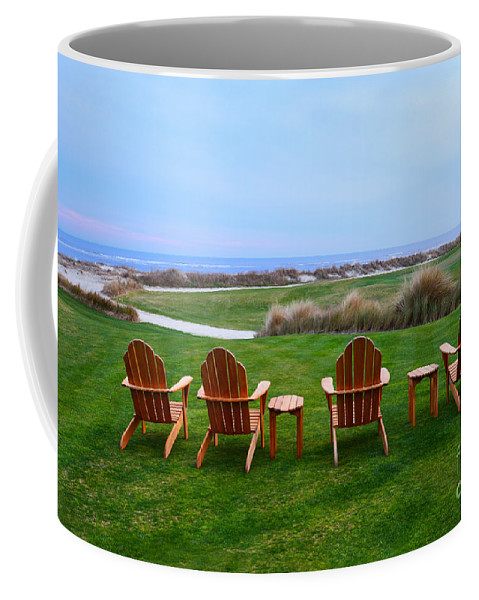 Golf Course Coffee Mug featuring the photograph Chairs at the Eighteenth Hole by Catherine Sherman