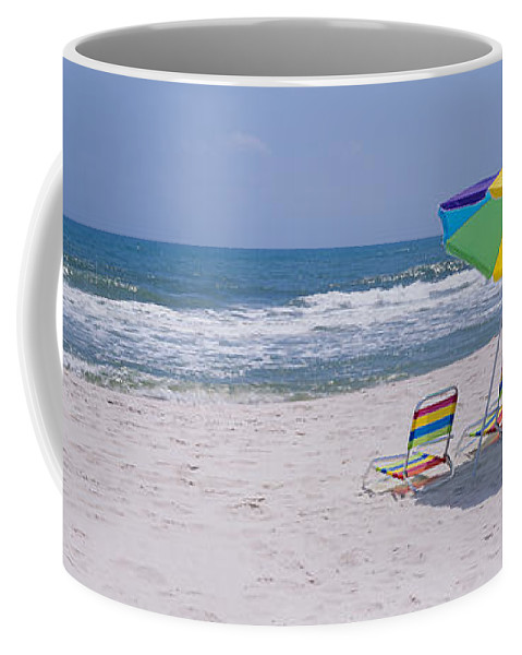 Photography Coffee Mug featuring the photograph Chairs On The Beach, Gulf Of Mexico by Panoramic Images
