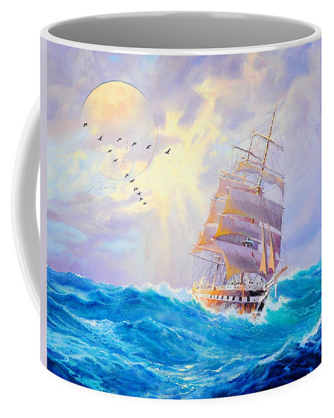 Challanging Tides Coffee Mug featuring the painting Challanging Tides by MotionAge Designs