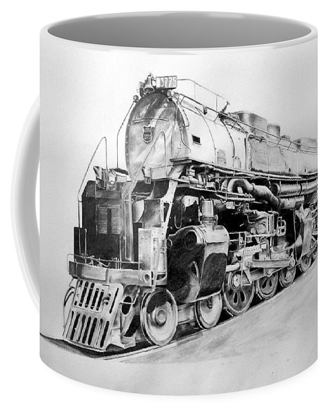 Steam Locomotive Coffee Mug featuring the drawing Challenger by Glen Frear