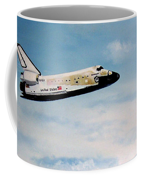 Shuttle Coffee Mug featuring the painting Challenger by Murphy Elliott