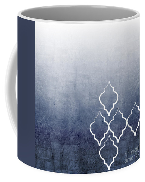 Abstract Coffee Mug featuring the mixed media Chambray Ombre by Linda Woods