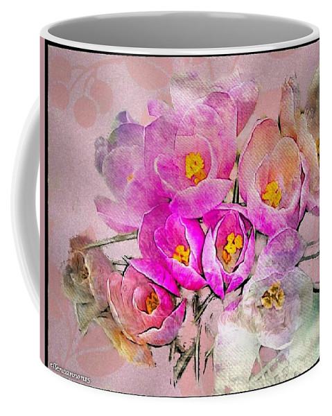 Floral Coffee Mug featuring the digital art Chamois Crocus by Ellen Cannon