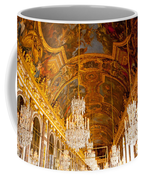 Paris Coffee Mug featuring the photograph Chandeliers And Ceiling Of Versailles by Anthony Doudt