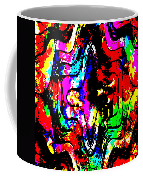 Chaos Abstract Color Colorful Mind Expressionism Comic Art Pop Digital Impressionism Coffee Mug featuring the painting Chaos In My Mind by Steve K