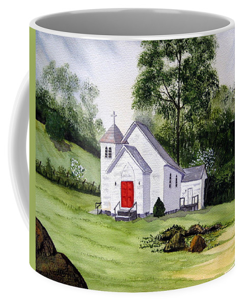 Church Coffee Mug featuring the painting Chapel In The Mounts by Julia Rietz