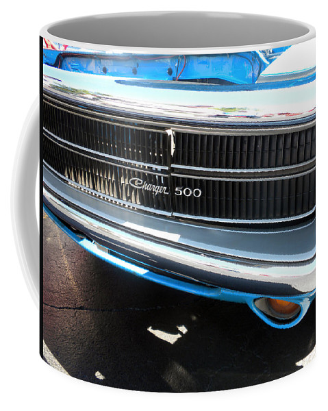 Chrysler Coffee Mug featuring the photograph Charger 500 Front Grill And Emblem by Thomas Woolworth