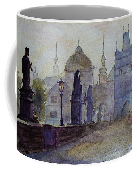 Dawn Coffee Mug featuring the painting Charles Bridge Prague by Xueling Zou