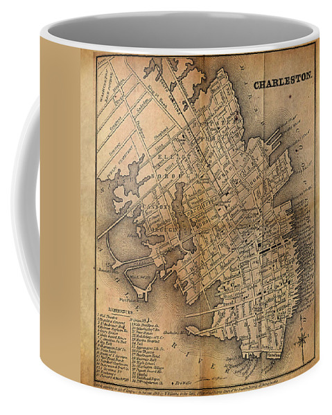 Steampunk Coffee Mug featuring the painting Charleston Vintage Map No. I by James Christopher Hill