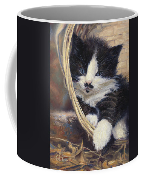 Cat Coffee Mug featuring the painting Charlie by Lucie Bilodeau