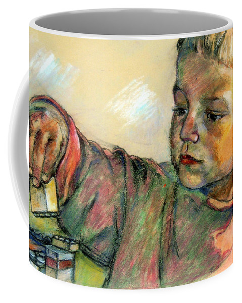 Charlie Coffee Mug featuring the drawing Charlie by Stan Esson