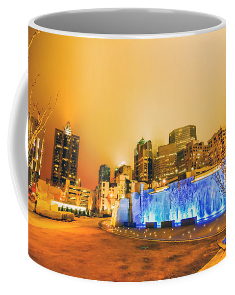Blue Coffee Mug featuring the photograph Charlotte Nc Usa - Charlotte Skyline Near R by Alex Grichenko