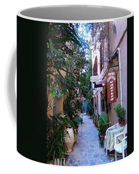 Greek Islands Crete Chania Hania Picturesque Street Scene Al Fresco Coffee Mug featuring the photograph Charming Chania by Brenda Salamone