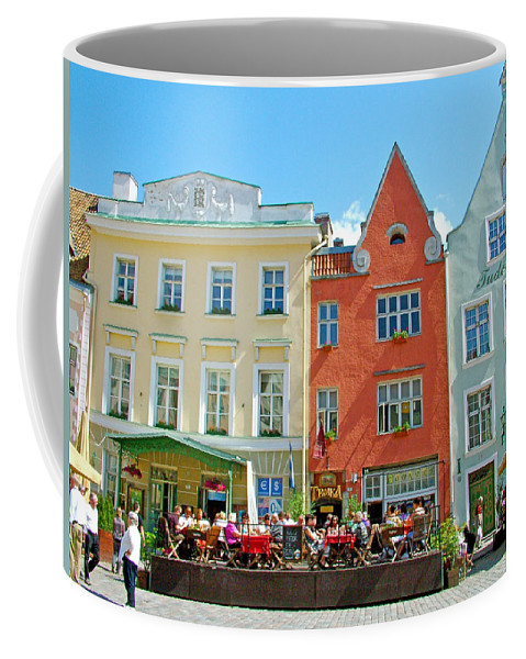 Charming Town Square In Old Town Tallinn Coffee Mug featuring the photograph Charming Town Square In Old Town Tallinn-estonia by Ruth Hager