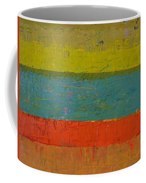 Stripes Coffee Mug featuring the painting Chartreuse and Blue with Orange by Michelle Calkins