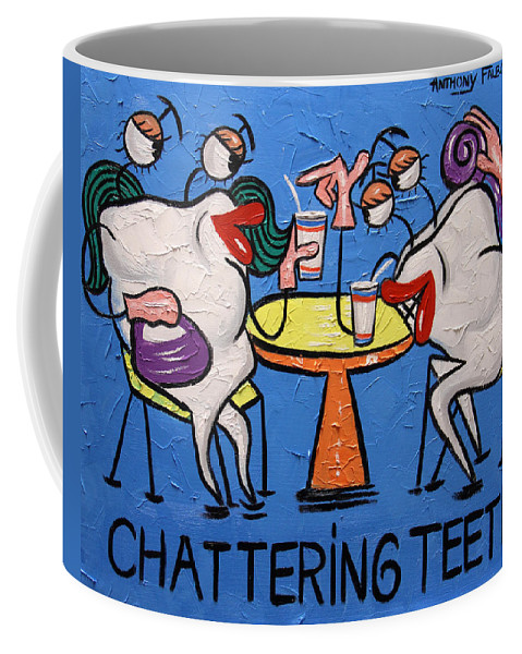 Chattering Teeth Coffee Mug featuring the painting Chattering Teeth Dental Art By Anthony Falbo by Anthony Falbo