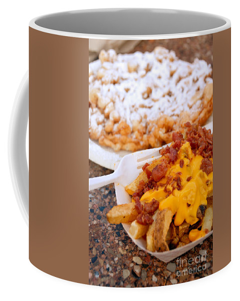 Bacon Coffee Mug featuring the photograph Cheesy Bacon Fries And Funnel Cake by Amy Cicconi