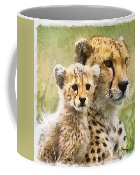 Cat Coffee Mug featuring the photograph Cheetah Two by Ingrid Smith-Johnsen