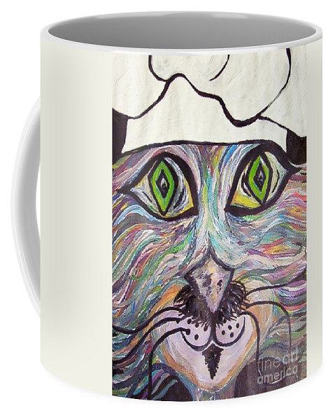 Professional Coffee Mug featuring the painting Chef Pierre ... A Cat With Good Taste by Eloise Schneider Mote