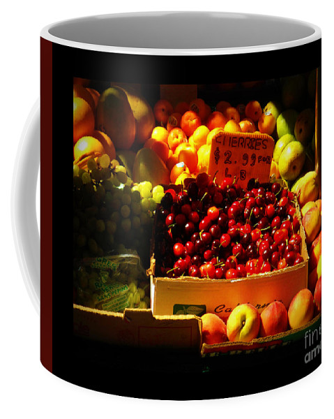 Fruitstand Coffee Mug featuring the photograph Cherries 299 A Pound by Miriam Danar